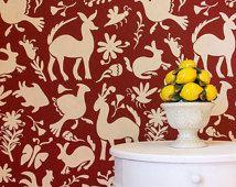 Large Allover Otomi Folk Art Wall Stencil for Wallpaper Look