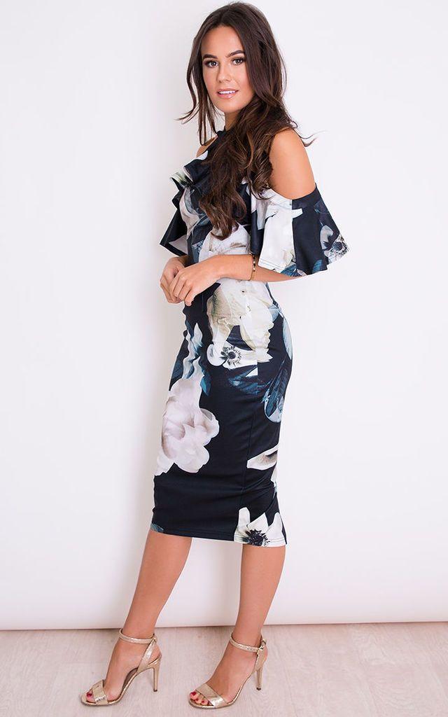 ff229f968264 Holly Floral Halterneck Frill Cold Shoulder Midi Dress Black by Girl In Mind