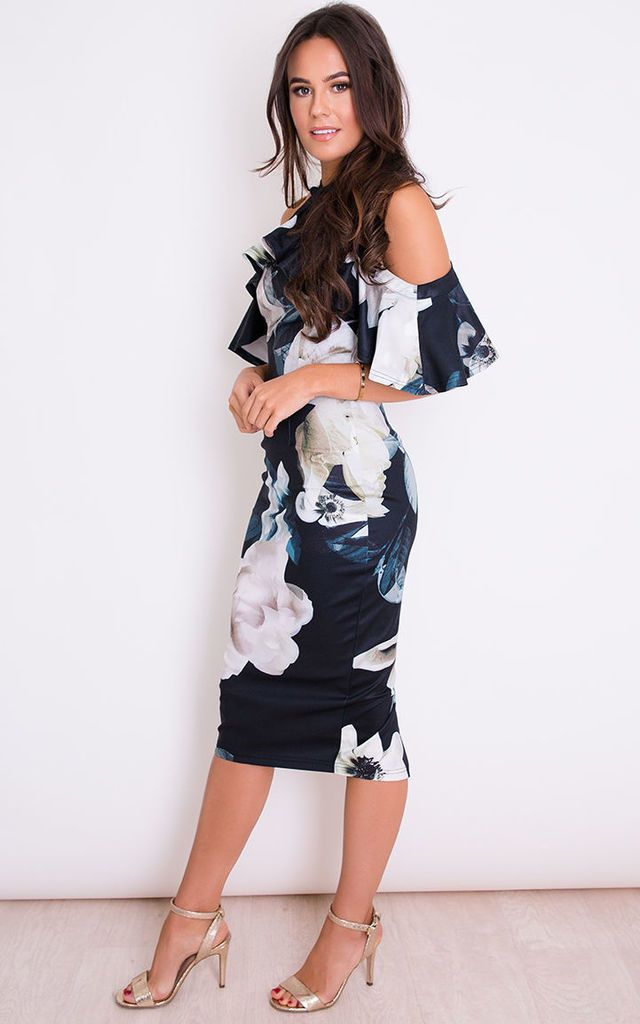 a60842fadea Holly Floral Halterneck Frill Cold Shoulder Midi Dress Black by Girl In Mind