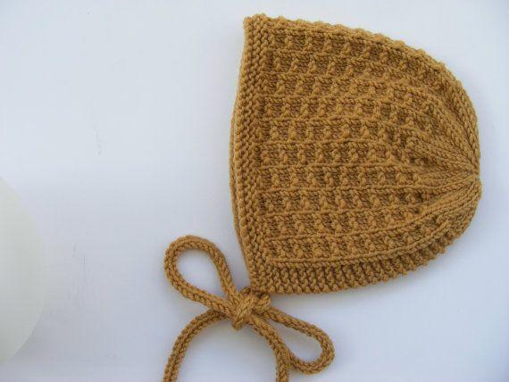 Mustard Baby Bonnet, Hand Knit Baby Hat, Merino Wool Hat, Sizes from ...