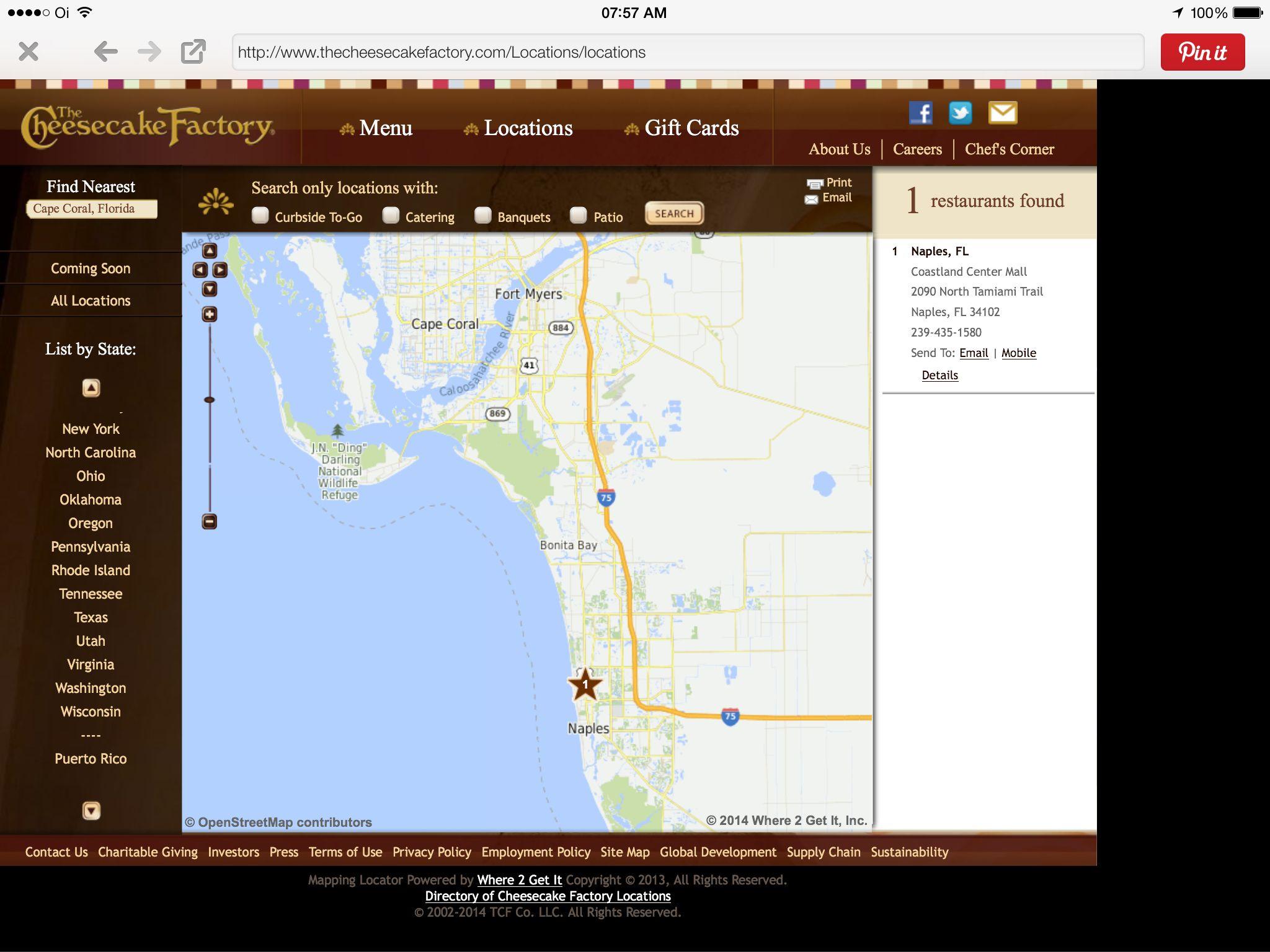 Cheesecake Factory   Cape Coral/Naples   Florida | Cheesecake