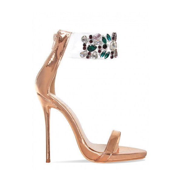 3e45b48961151 Akira Rose Gold Gem Clear Stiletto Heels   Simmi Shoes ( 9.24) ❤ liked on  Polyvore featuring shoes