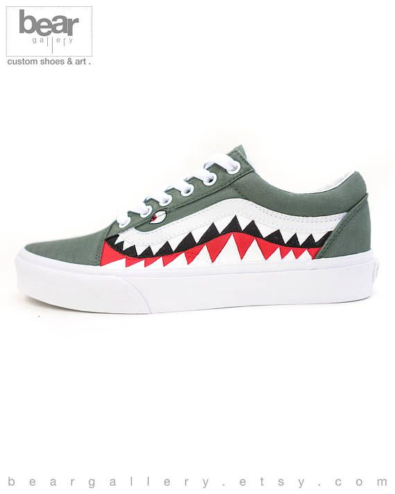 ce1c8217cc7c42 Custom Bape Vans Shoes - Hand Painted Shark Teeth Design Bape Shoes - Bape  Old Skools