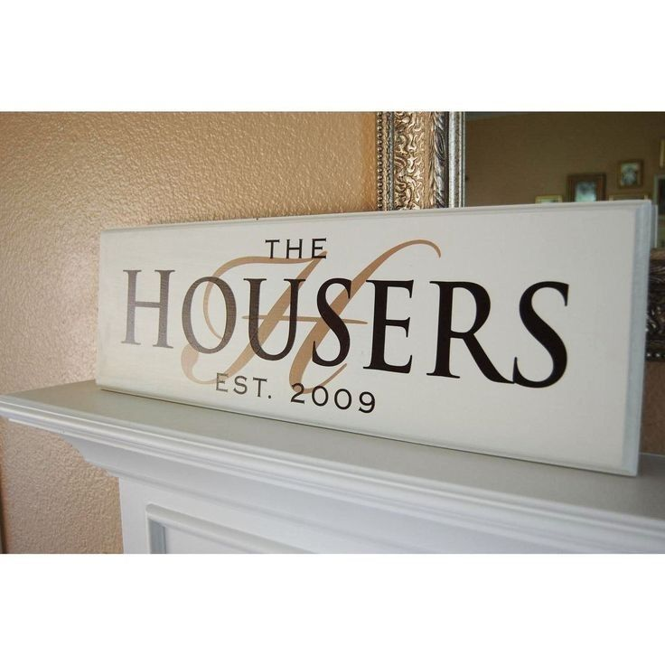 Wooden Sign Decor Painted Customed Initial And The Housers Diy Family Name Wooden