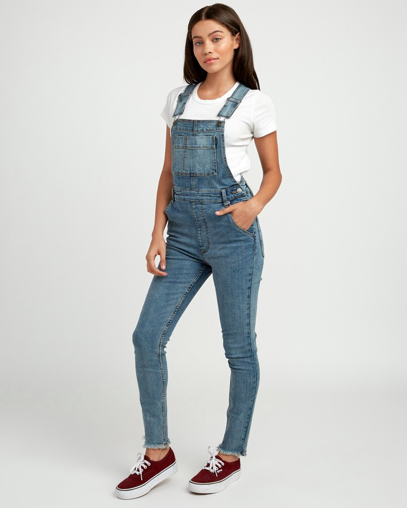 how to serch top-rated professional On Clearance Rvca Foss Skinny Denim Overall - Aged Indigo 24 | Products ...