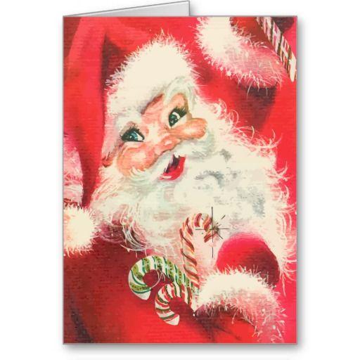 vintage santa claus with sugar candy christmas card  Vintage Santa Claus Christmas Cards