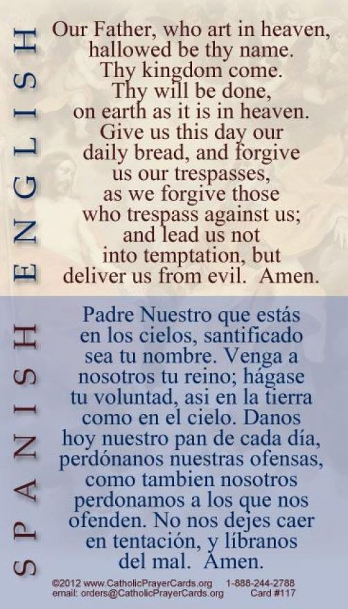 Spanish Bilingual Catholic Prayer Cards St Therese of