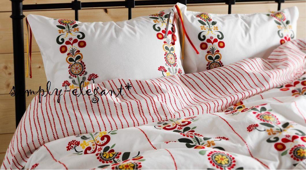 New Akerkulla Duvet Cover W Pillowcase S Floral Pattern On White Ikea Bedlinen