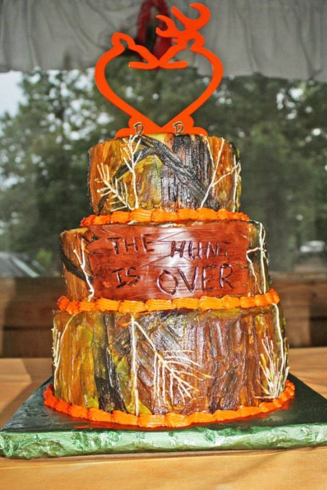Orange Browning Logo Camouflage Wedding Cake