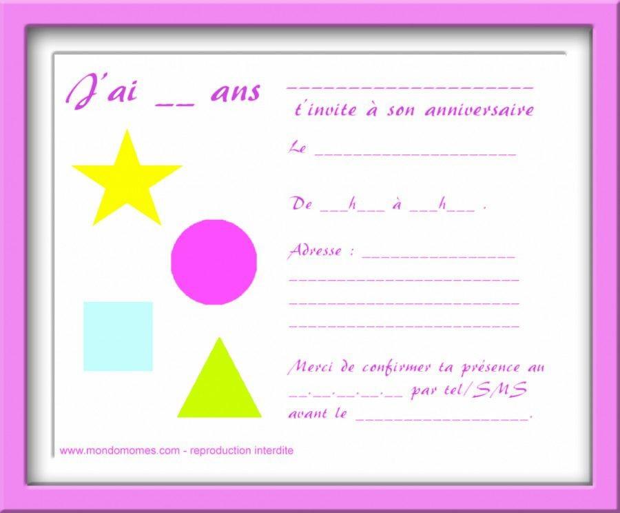 Remarquable Carte D'invitation Anniversaire À Imprimer Gratuite Fille Fresh YG-08