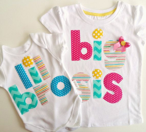 Big Sister Little Brother Tshirt and Bodysuit Set by LilBirdieShop