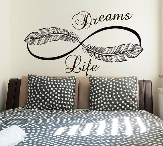 Infinity Wall Decals Life Dreams Decals Home Vinyl Stickers Feathers Art Removable Bedroom Boho Decor S99 & Infinity Wall Decals Life Dreams Decals Home Vinyl Stickers Feathers ...