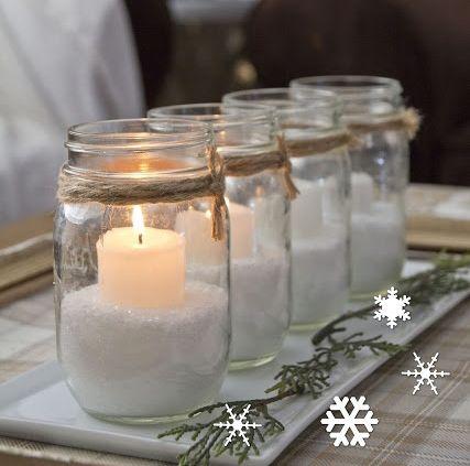 Mesa de navidad tarros con velas m 39 agrada la deco for Frascos decorados para navidad