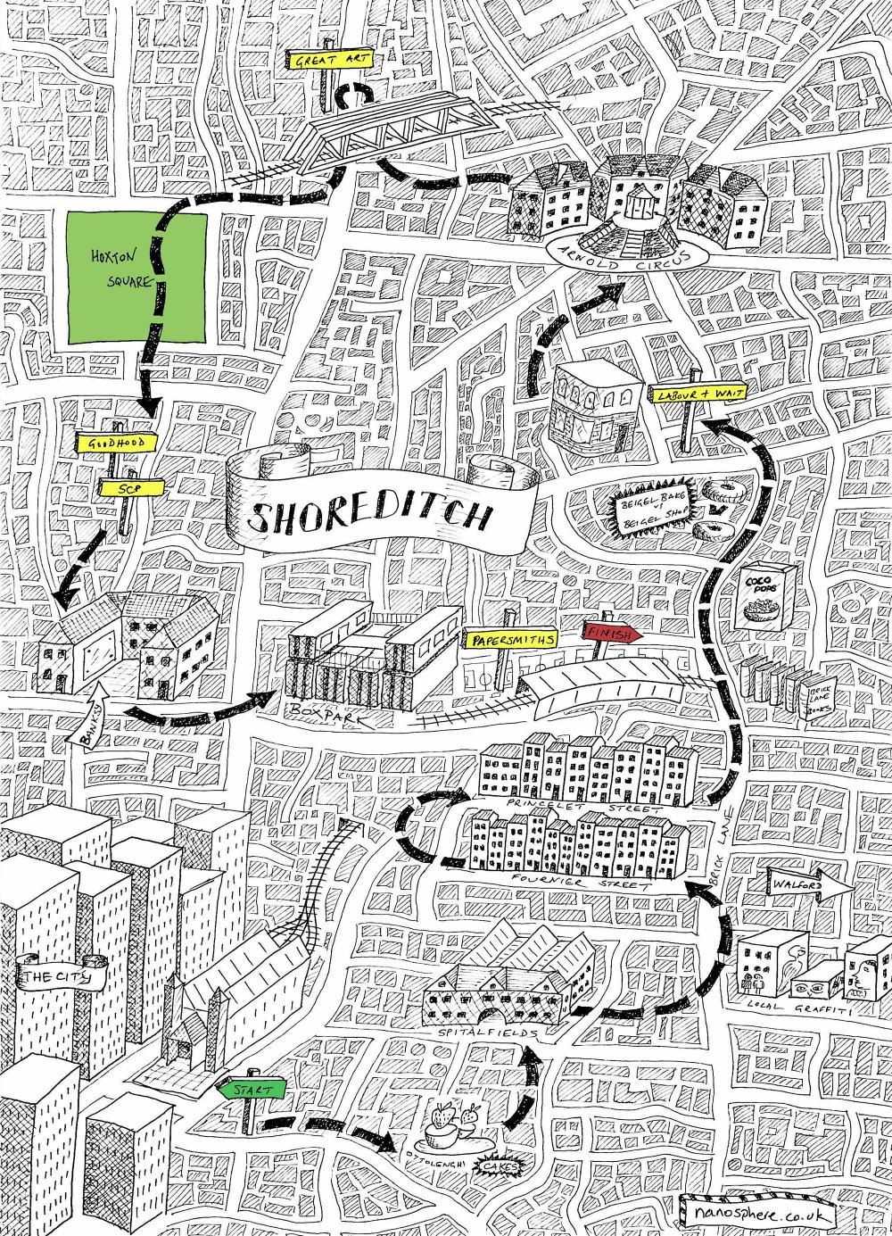 London Map Shoreditch Area: Stationery Shop Walks #4 – Shoreditch, London