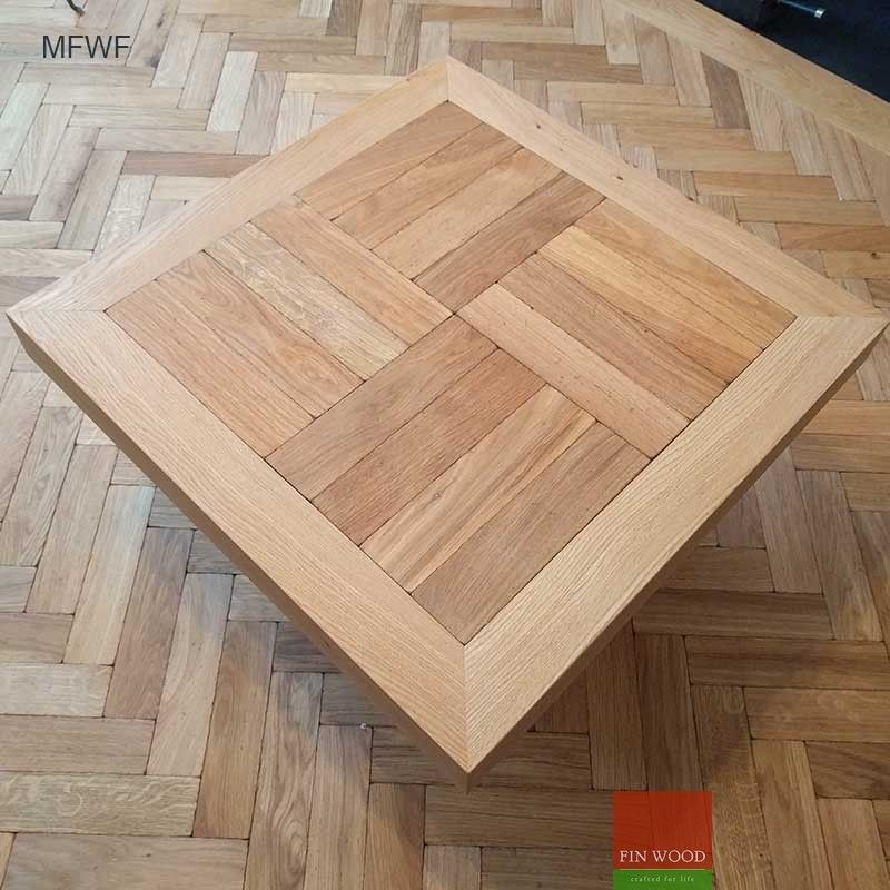 Coffee Table Made Of Parquet Blocks And Engineered Wooden Floor Boards