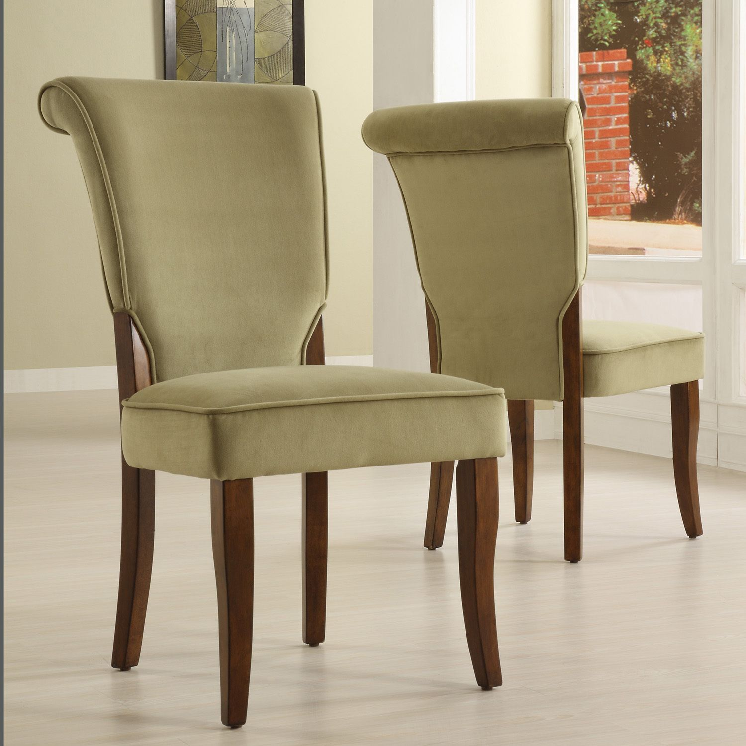 Andorra Sage Velvet Upholstered Dining Chair by Inspire Q (Set of 2), Green (Rubberwood)