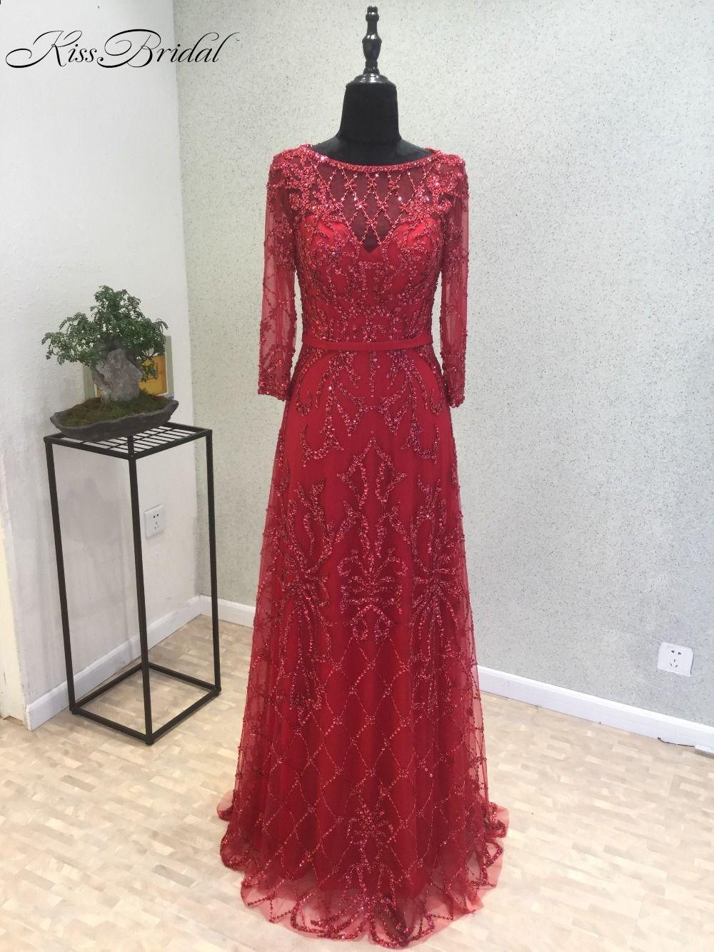New amazing long evening dress oneck long sleeves aline floor