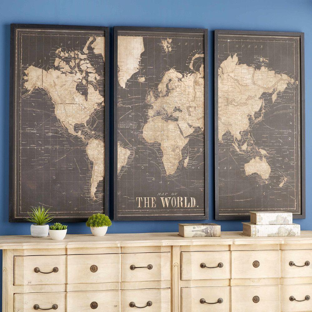 cadre triptyque mappemonde noir 180x120 maisons du monde