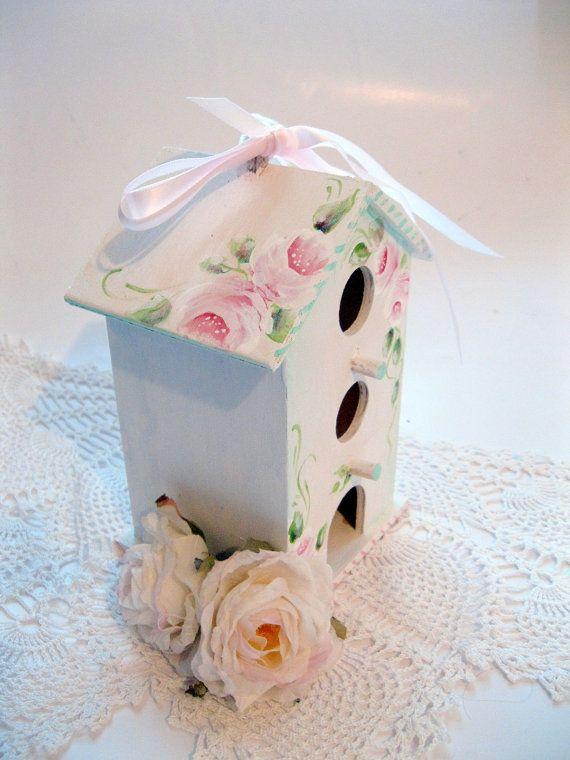 Shabby Chic Bird House, Painted Bird House, Roses, Garden Decor