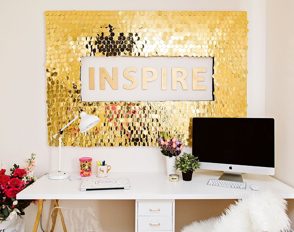 Diy gold sequins wall art easy and affordable with a huge impact to the whole room