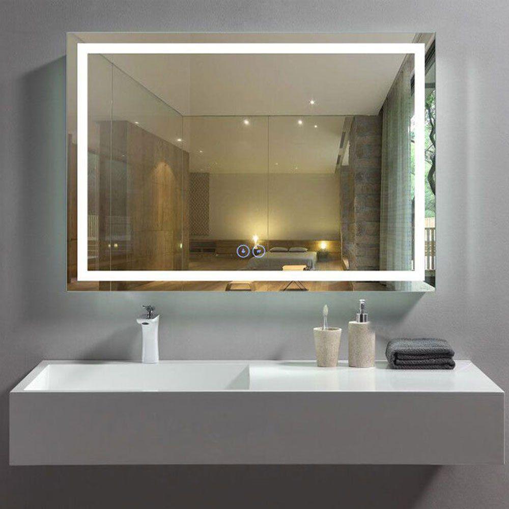 Decoraport 40 X 28 In Horizontal Led Bathroom Mirror With Antifog Function Dkack010w4 Modern Bathroom Mirrors Contemporary Bathroom Mirrors Led Mirror Bathroom