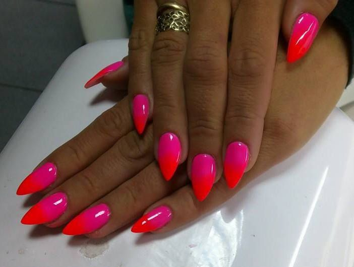 Ombre Nails Red And Pink