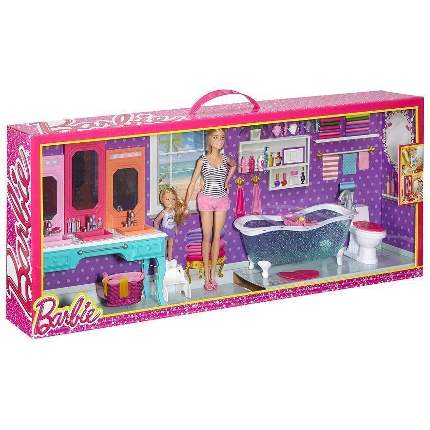 Barbie & Chelsea Bathroom Playset 2 Dolls Sink Bathtub Toilet ...