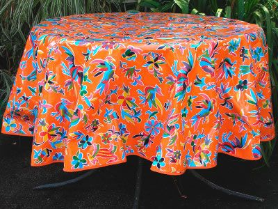 Nice Animalitos In Orange Round Oilcloth Tablecloth