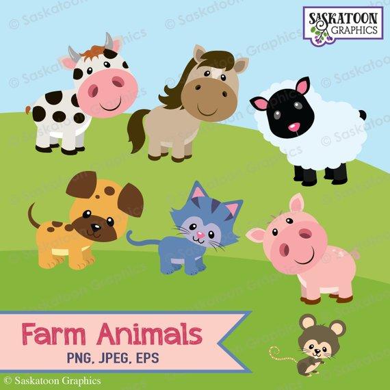 Boerderij Dieren Clipart Instant Download Bestand Digitale Etsy Animal Clipart Clip Art Digital Graphics
