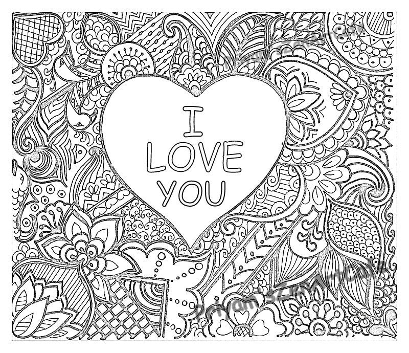 I Love You Art Love Zentangle Adult Coloring Page Detailed