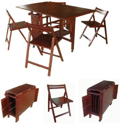 VIFAH V62 Indoor Antique Hideaway Table And Chairs, One Folding Table And  Four Folding Chairs
