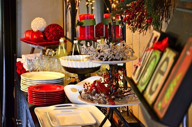 christmas buffet table buffet tables pinterest small. Black Bedroom Furniture Sets. Home Design Ideas