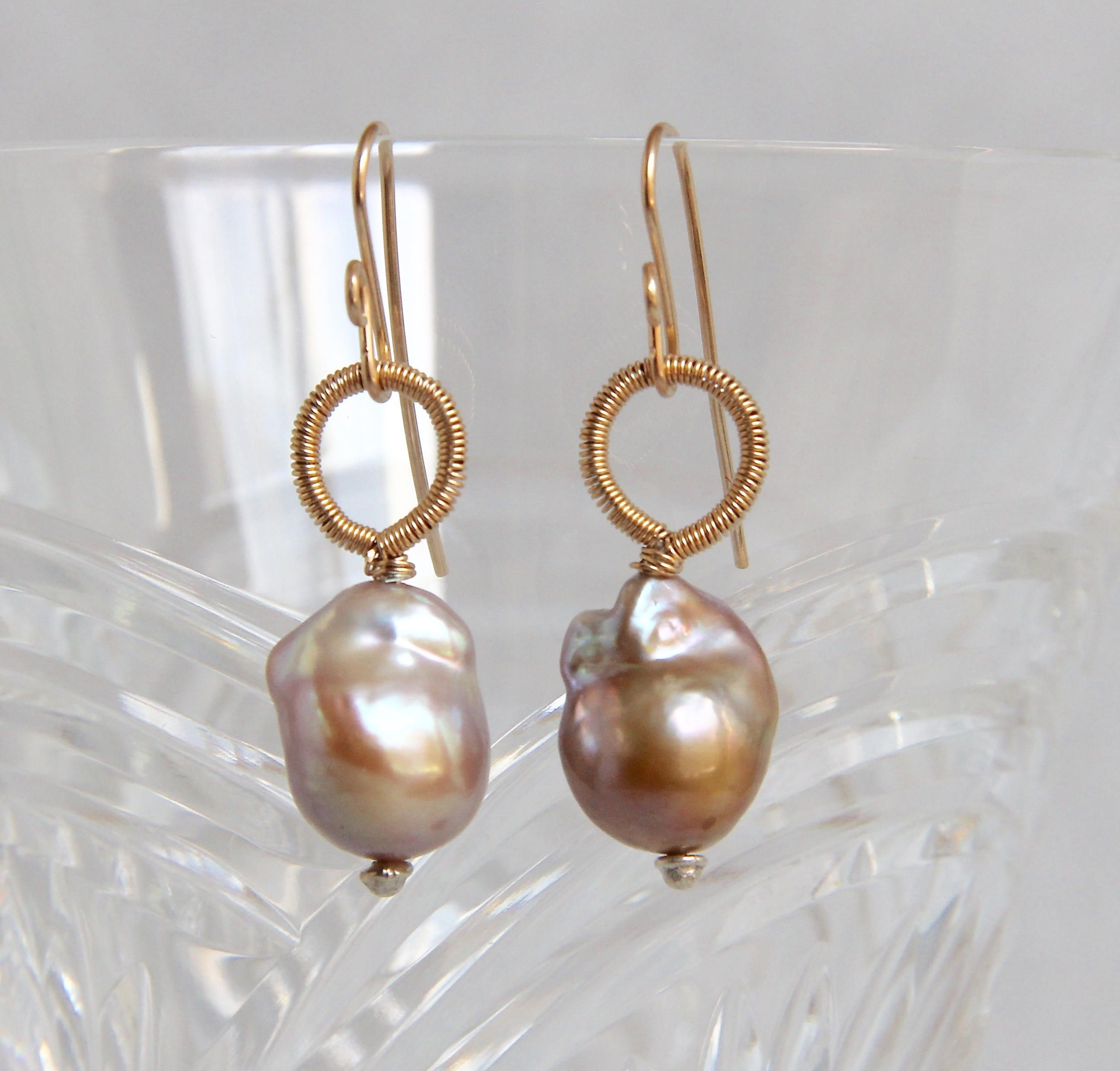 5cd5c306e Baroque Pearl Dangle Drop Earrings, Gold Filled Wire Wrapped, Handmade  Gemstone Beaded Jewelry, Elegant Minimalist, Cream Gold Mineral, ...