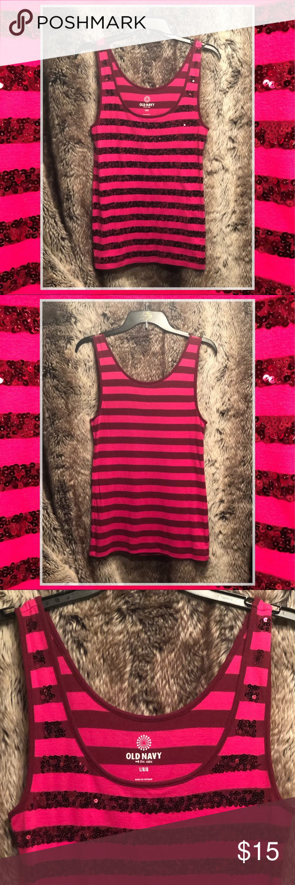 d81a85d226 Hot Pick Sequin Striped Tank Top Size L ▫️PRE-OWNED in EXCELLENT CONDITION  (Worn Once) ▫️Size Large ▫️Long Hot Pink Striped Tank Top w/Sequins on ...