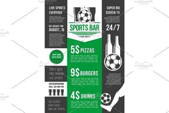 vector menu poster for soccer bar or football pub menu menu
