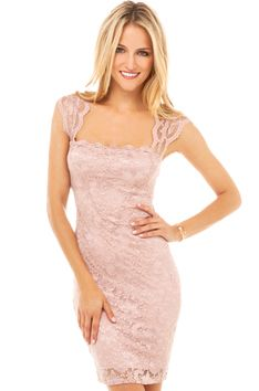 Square Neck Lace Dress in Blush