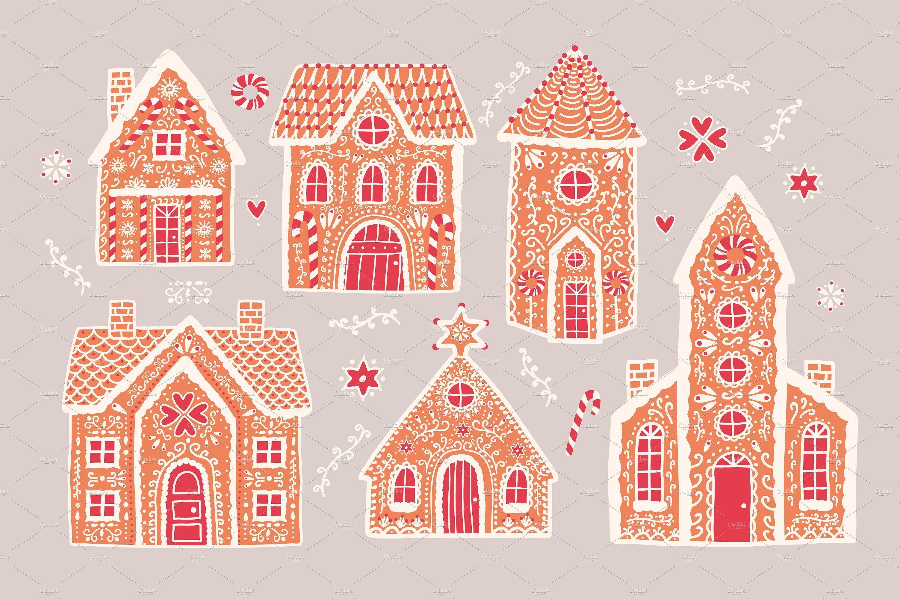 Gingerbread houses cartooncolorfulvectorsugar (With