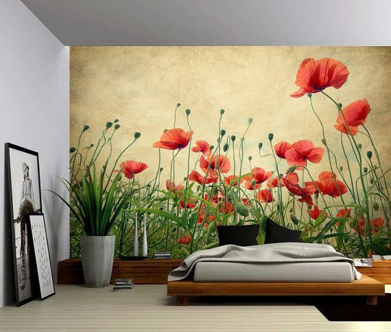 Red Poppies - Large Wall Mural, Self-adhesive Vinyl Wallpaper, Peel ...