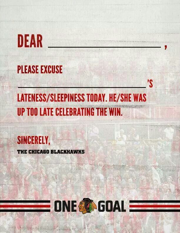 Blackhawks Celebration Excuse Note  Sports Blackhawks Love