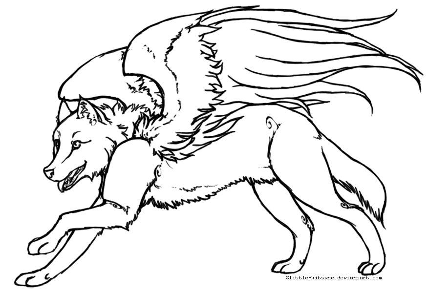 Winged Wolf - Lineart by little-kitsune on deviantART | Critter ...