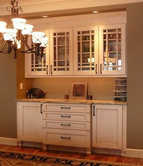 White Kitchen Hutch: Glass Doors And Black Hardware. All Great. #white