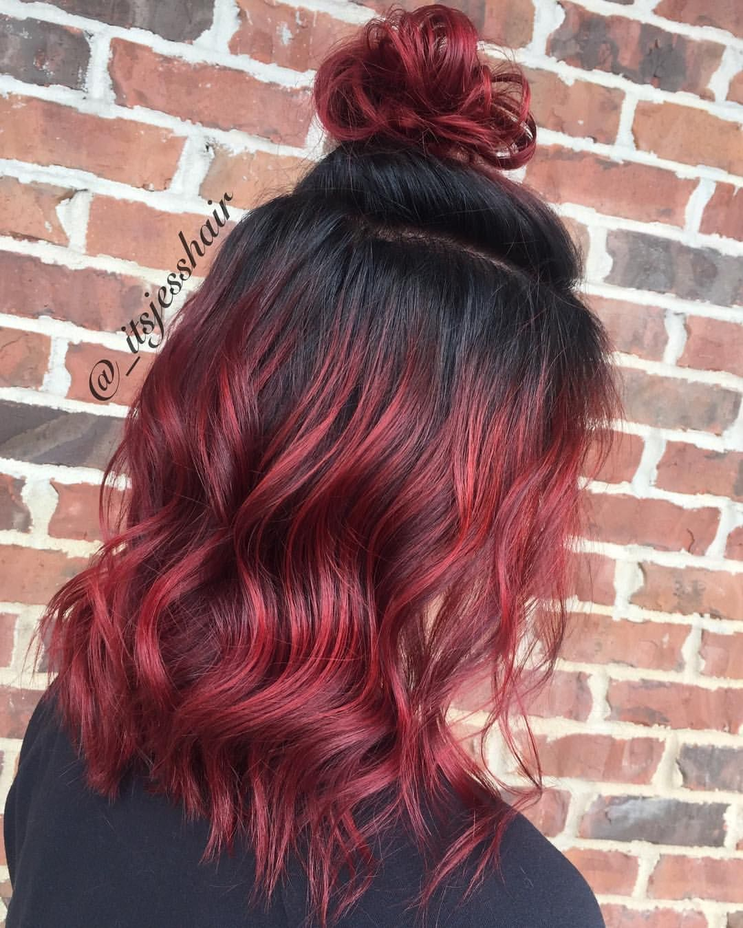 Red Hair With Shadow Root And Top Knot 54 Likes 2 Comments Jessica Knott Stylist Itsjesshair On Instagr Red Ombre Hair Burgundy Hair Brown Ombre Hair