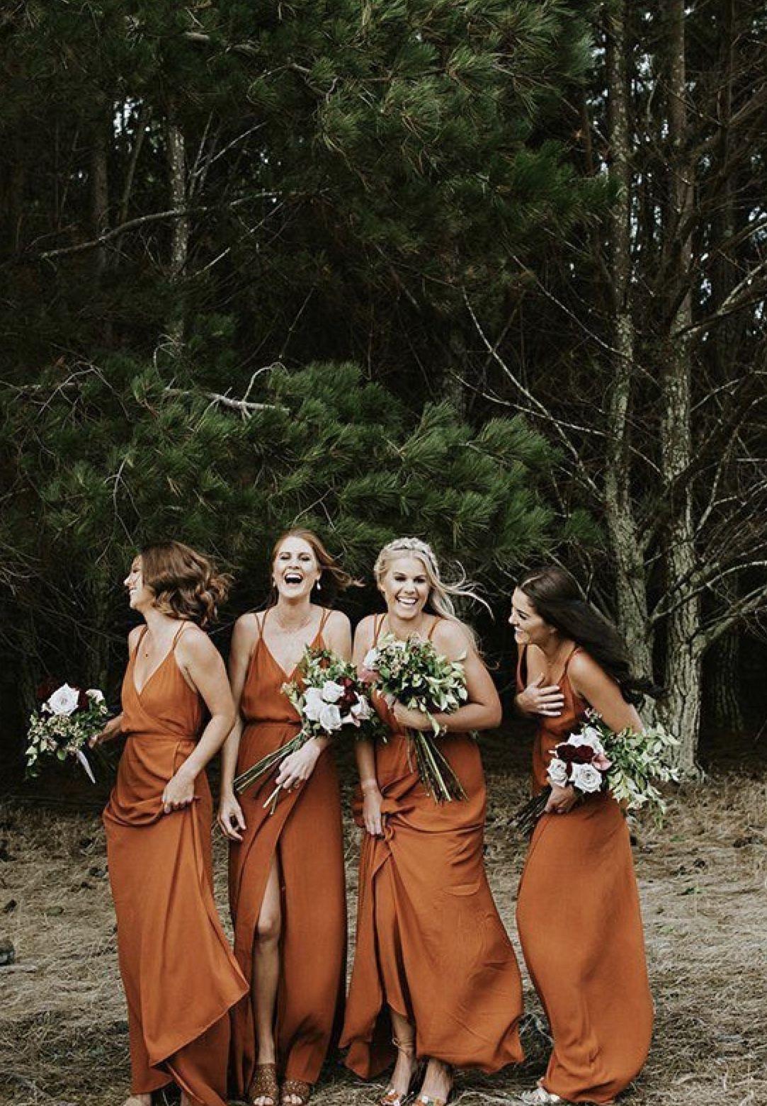 Pin By Laura Brote On Her Wedding Burnt Orange Bridesmaid Dresses Fall Bridesmaids Orange Bridesmaid Dresses [ 1561 x 1083 Pixel ]