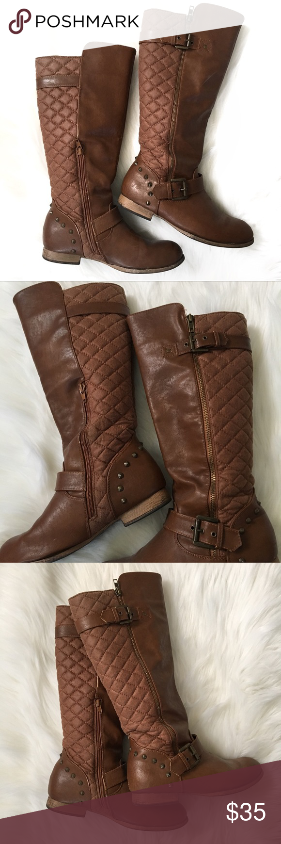 Brown studded riding boots Fashionable distressed riding