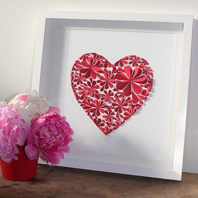 Faire un tableau en papier cr er tableau et papier fleur - Faire un coeur en papier ...