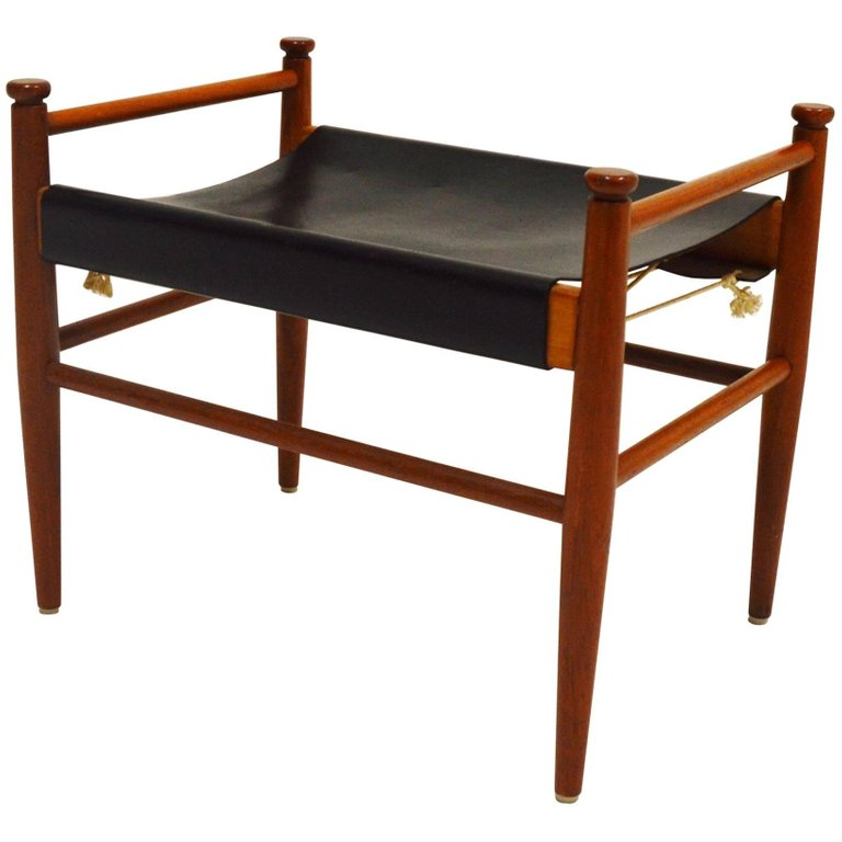 Designed Teak And Leather Foot Stool Circa 1960s Leather