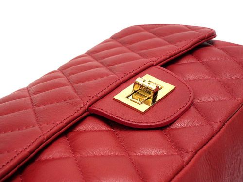 GENUINE-LEATHER-Hand-bag-Quilted-Shoulder-bag-DARK-RED-Flap-Chain-Made-in-Italy
