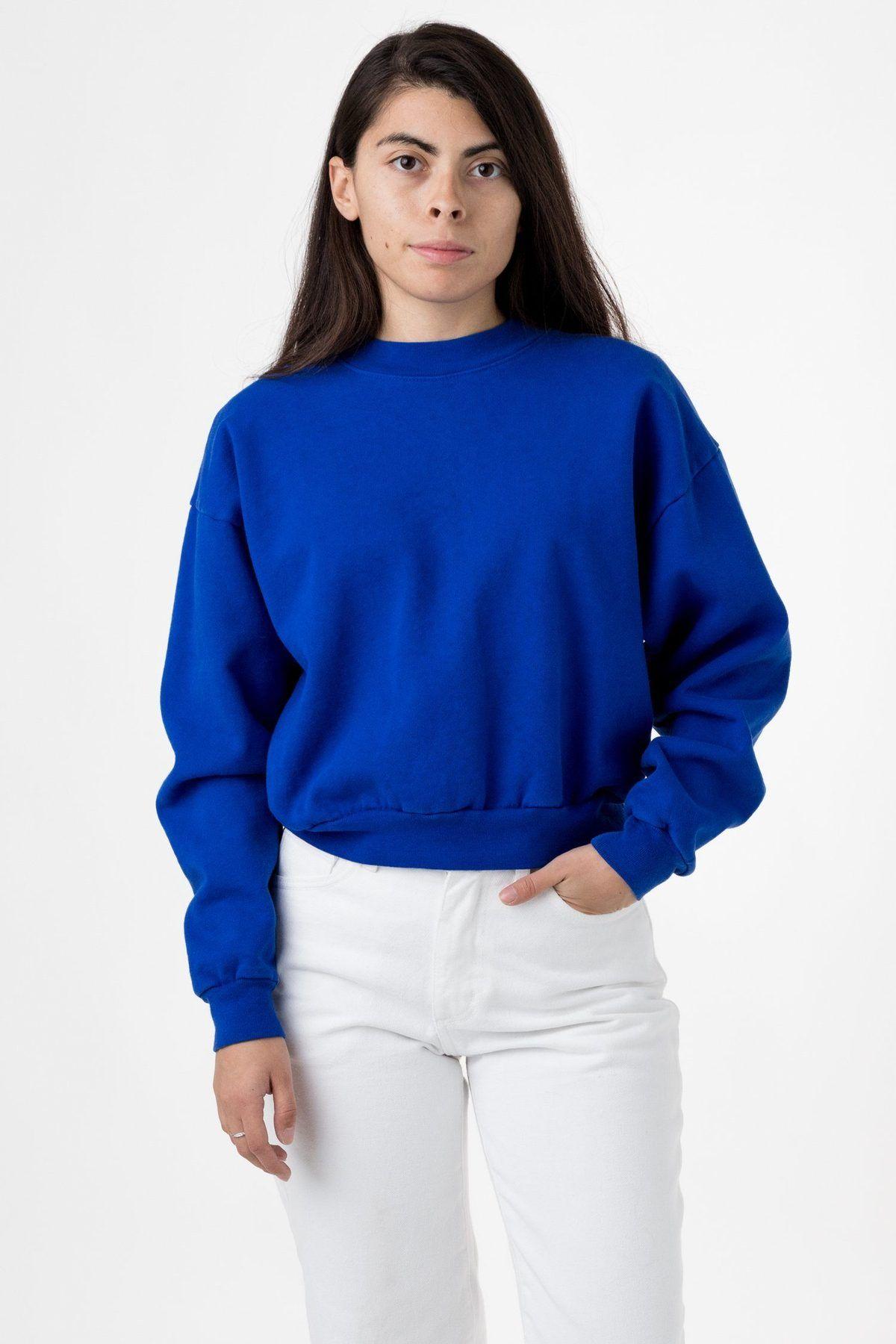 Hf06gd 14 Oz Garment Dye Heavy Fleece Cropped Mock Neck Pullover Garment Dye Sweatshirts Women High Waisted Pants