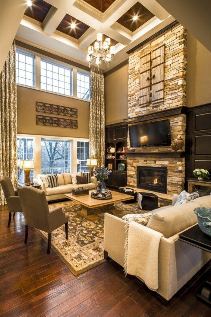 decorar salon estilo rstico con chimenea de piedra sillas y sofas mesa de - Salones Rusticos Con Chimenea
