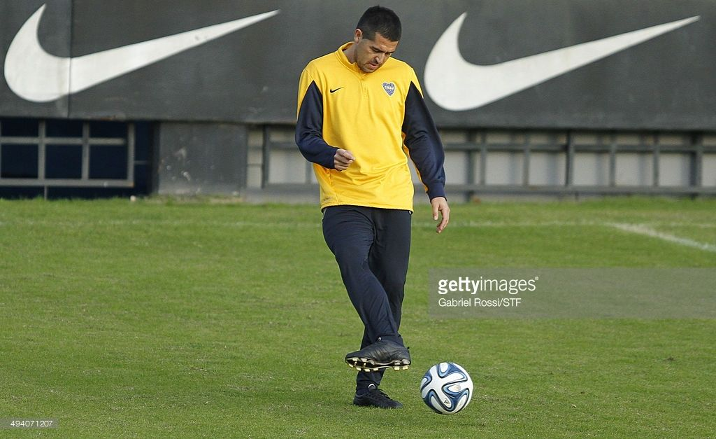 Juan Roman Riquelme of Boca Juniors kicks the ball during a training session at Casa Amarilla on May 27, 2014 in Buenos Aires, Argentina.